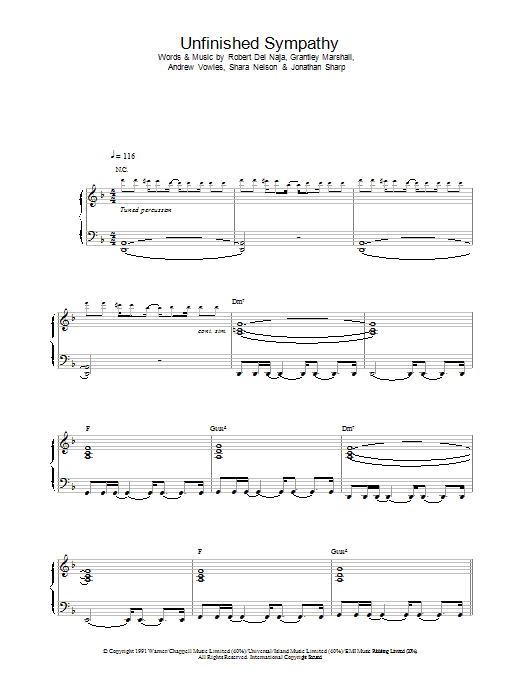 Unfinished Sympathy sheet music for voice, piano or guitar by Massive Attack
