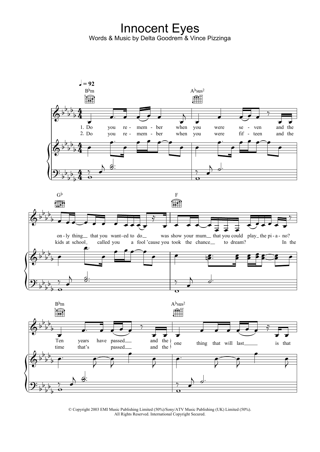 Innocent Eyes sheet music for voice, piano or guitar by Delta Goodrem