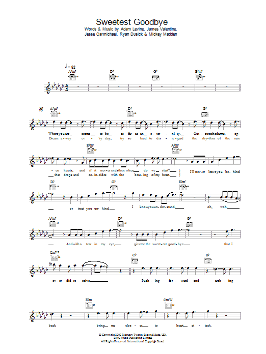 Sweetest Goodbye sheet music for voice and other instruments (fake book) by Maroon 5