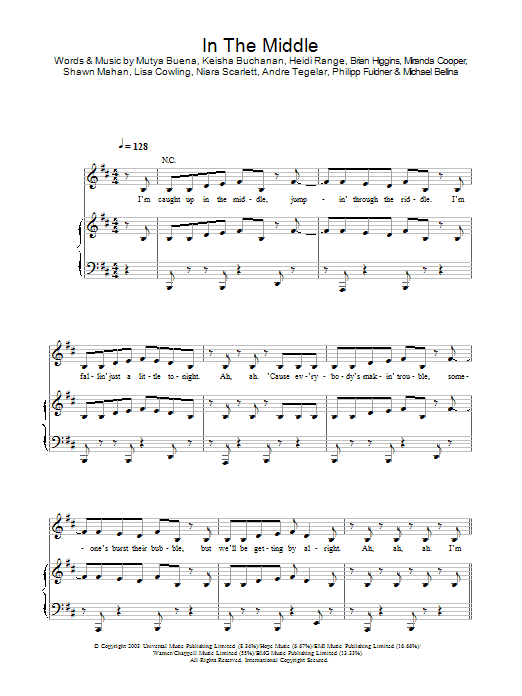 In The Middle sheet music for voice, piano or guitar by Sugababes