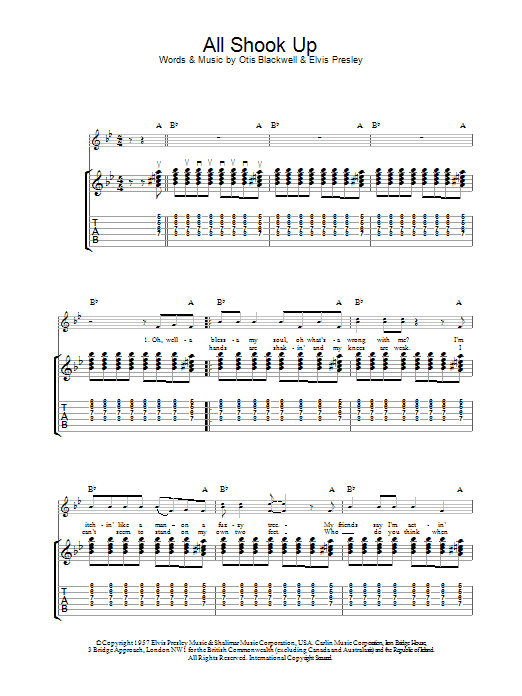 All Shook Up sheet music for guitar solo (tablature) by Elvis Presley