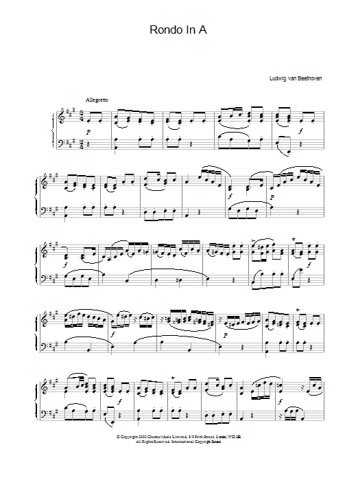 Rondo In A sheet music for piano solo by Ludwig van Beethoven