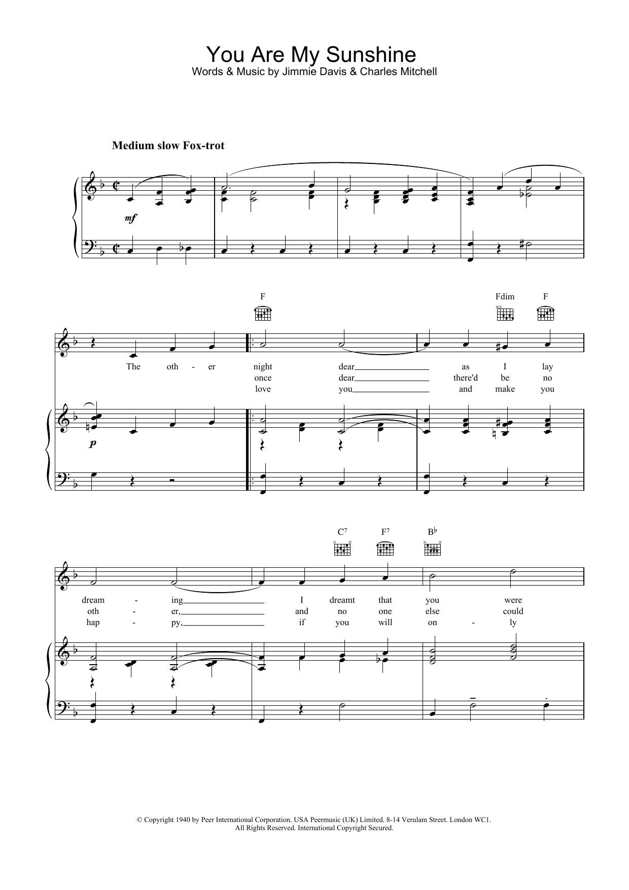 You Are My Sunshine sheet music for voice, piano or guitar by Charles Mitchell