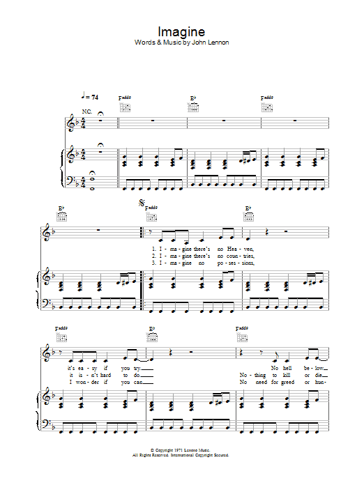 Imagine sheet music for voice, piano or guitar by Alex Parks
