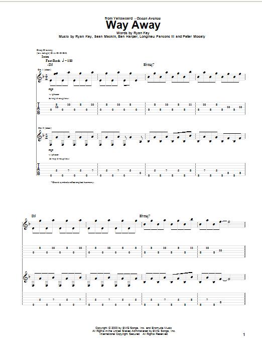 Tablature guitare Way Away de Yellowcard - Tablature Guitare