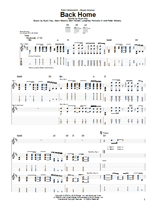 Tablature guitare Back Home de Yellowcard - Tablature Guitare