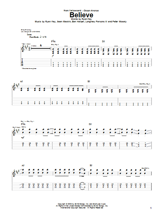 Tablature guitare Believe de Yellowcard - Tablature Guitare