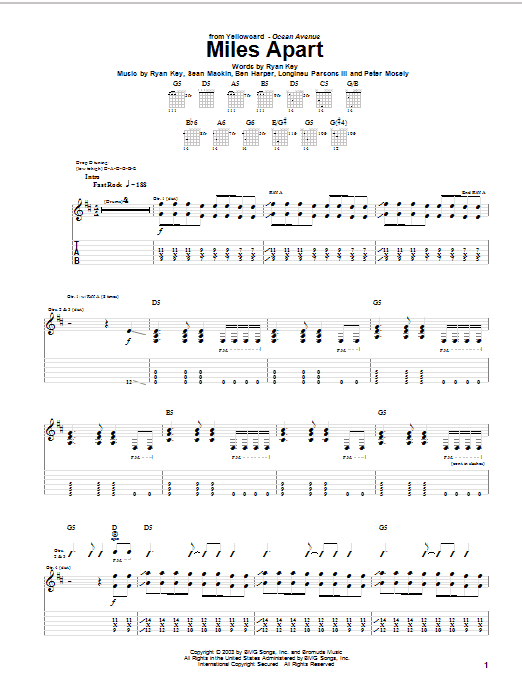 Tablature guitare Miles Apart de Yellowcard - Tablature Guitare