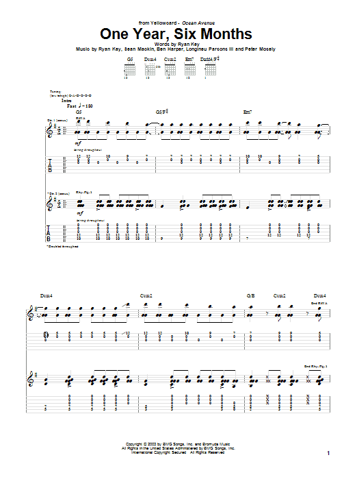 Tablature guitare One Year, Six Months de Yellowcard - Tablature Guitare