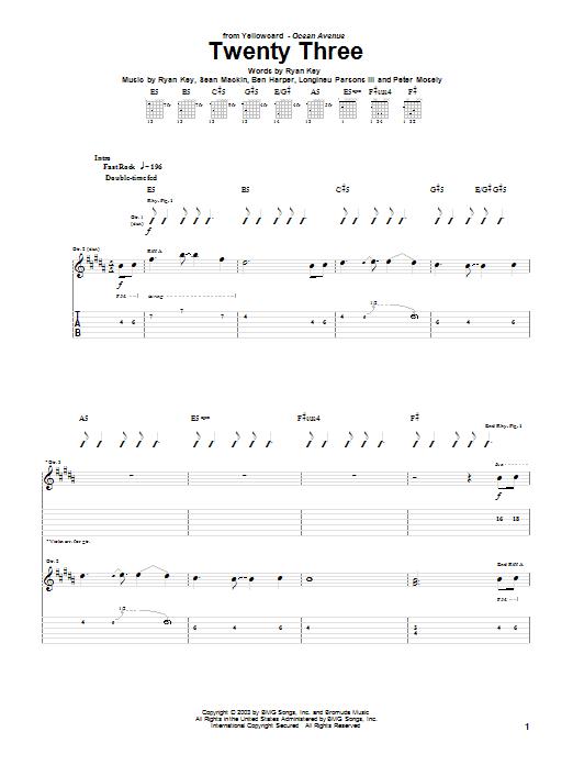 Tablature guitare Twenty Three de Yellowcard - Tablature Guitare