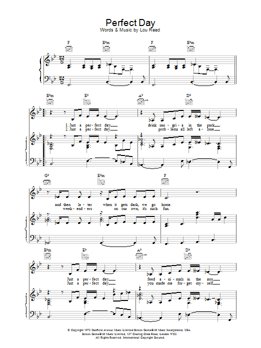 Perfect Day sheet music for voice, piano or guitar by Lou Reed