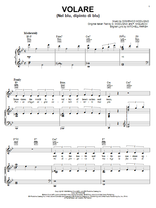 Volare (Nel Blu, Dipinto Di Blu) sheet music for voice, piano or guitar by Mitchell Parish