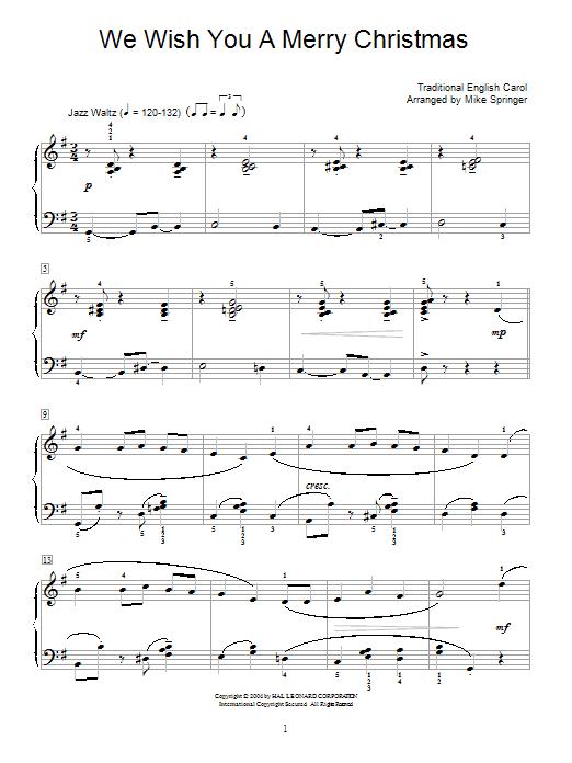 Partition piano We Wish You A Merry Christmas (jazzy arrangement) de Christmas Carol - Piano Facile