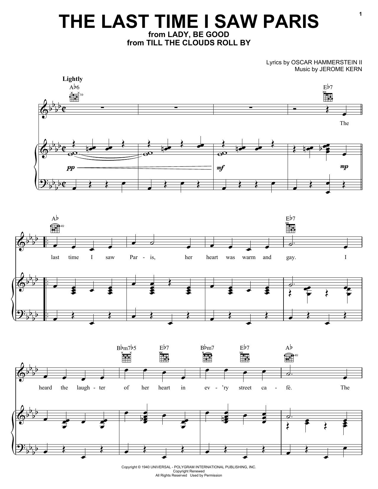 Partition piano The Last Time I Saw Paris de Oscar Hammerstein II - Piano Voix Guitare (Mélodie Main Droite)