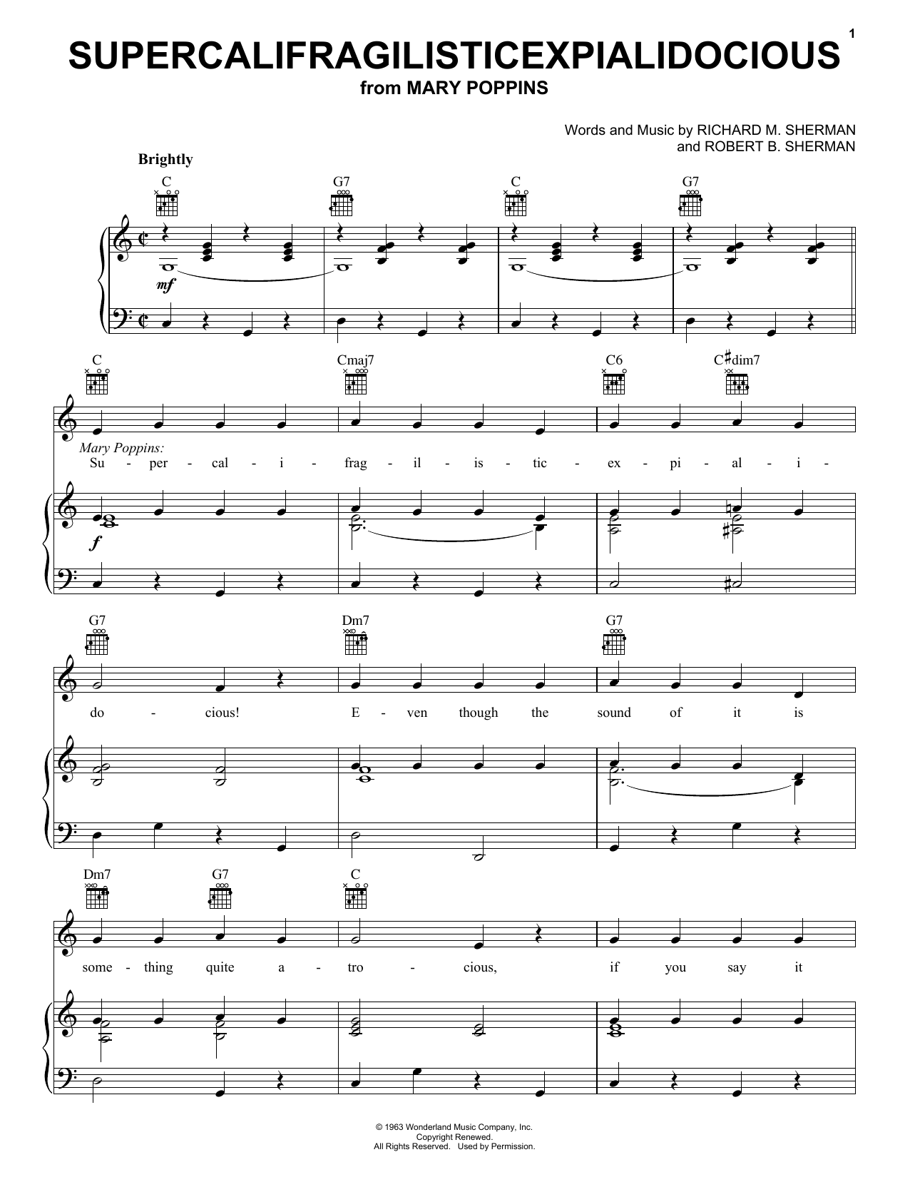 Supercalifragilisticexpialidocious (COMPLETE) sheet music for voice, piano or guitar by Robert B. Sherman