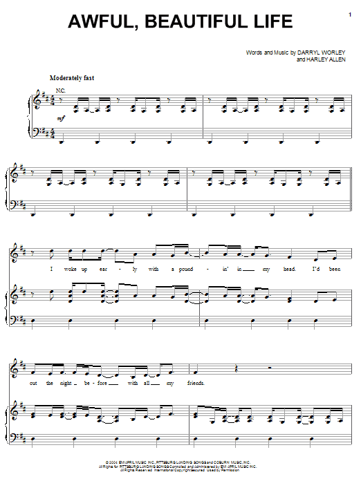 Awful, Beautiful Life sheet music for voice, piano or guitar by Harley Allen