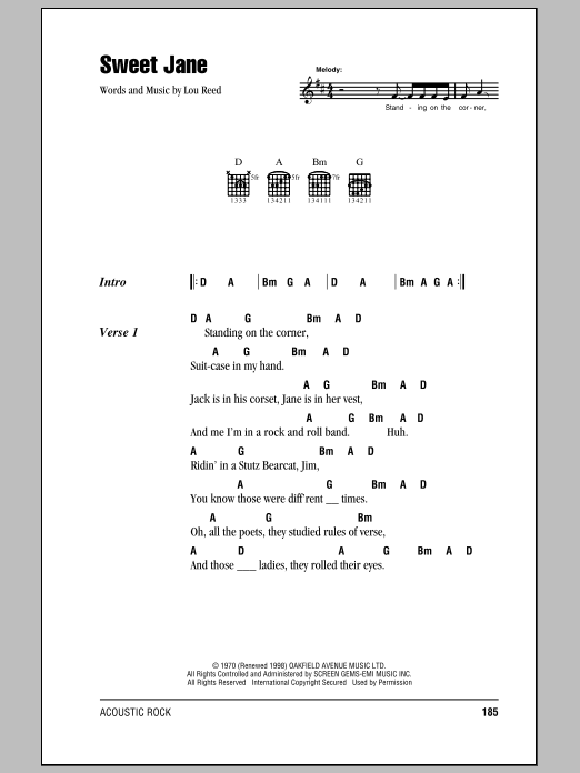 Sweet Jane (Intro) sheet music for guitar solo (chords, lyrics, melody) by Lou Reed