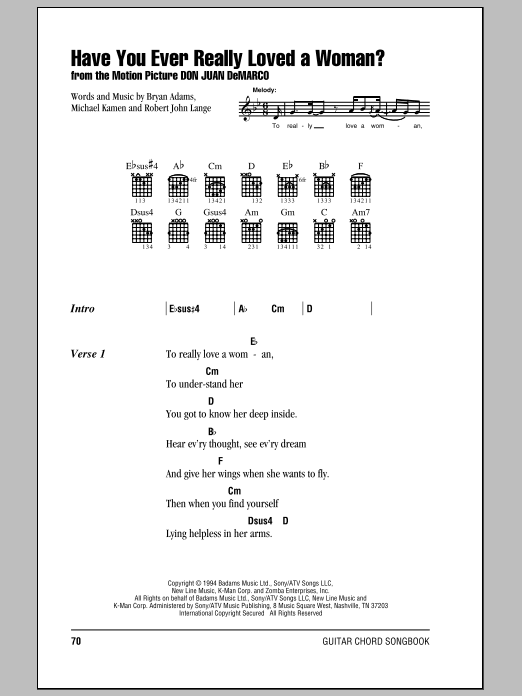 Have You Ever Really Loved A Woman? sheet music for guitar solo (chords, lyrics, melody) by Robert John Lange