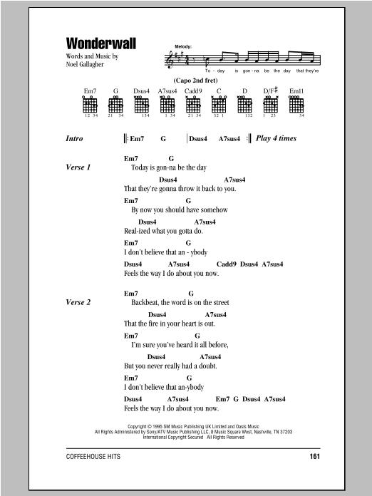 Wonderwall sheet music by Oasis (Lyrics u0026 Chords u2013 81826)