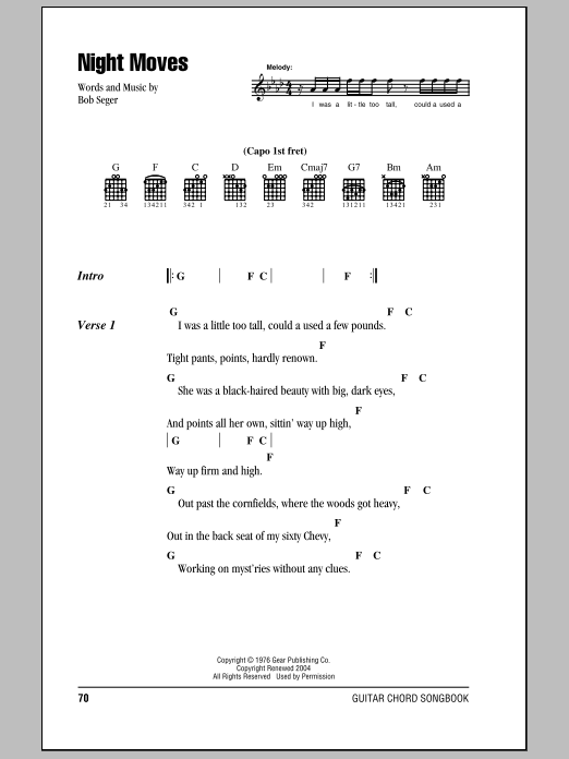 Night Moves Chords