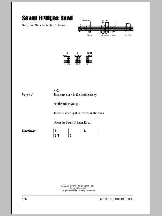 Seven Bridges Road sheet music for guitar solo (chords, lyrics, melody) by Stephen T. Young