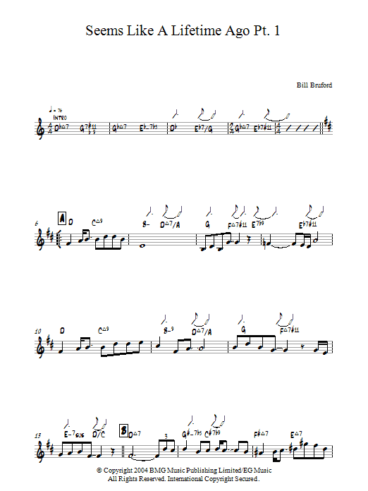 Seems Like A Lifetime Ago Pt. 1 sheet music for piano solo by Bill Bruford