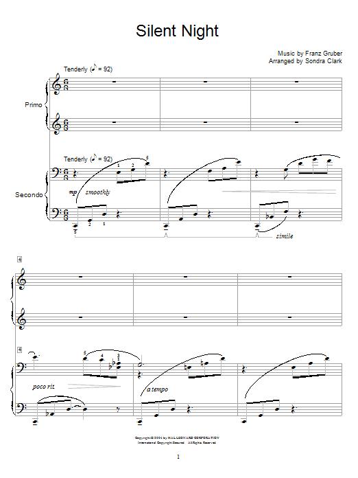 Partition piano Silent Night de Christmas Carol - 4 mains