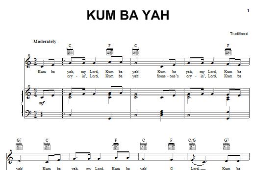 Partition piano Kum Ba Yah de Traditional - Piano Voix Guitare (Mélodie Main Droite)