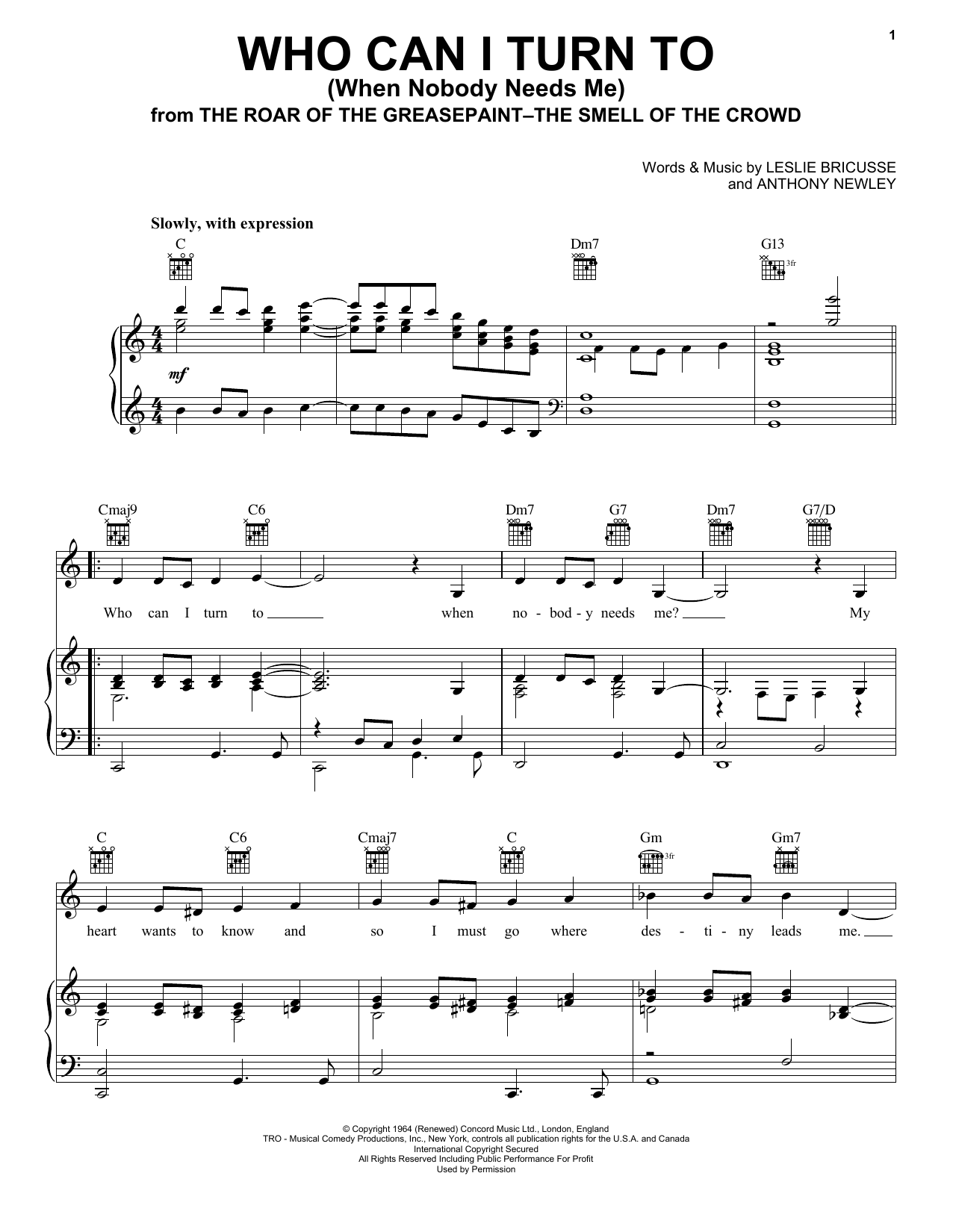 Who Can I Turn To (When Nobody Needs Me) sheet music for voice, piano or guitar by Leslie Bricusse