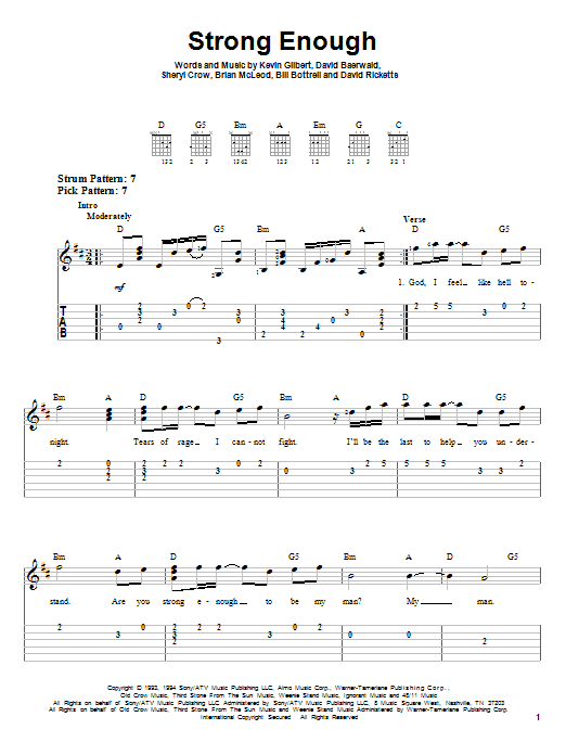Tablature guitare Strong Enough de Sheryl Crow - Tablature guitare facile