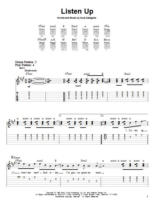 Tablature guitare Listen Up de Oasis - Tablature guitare facile