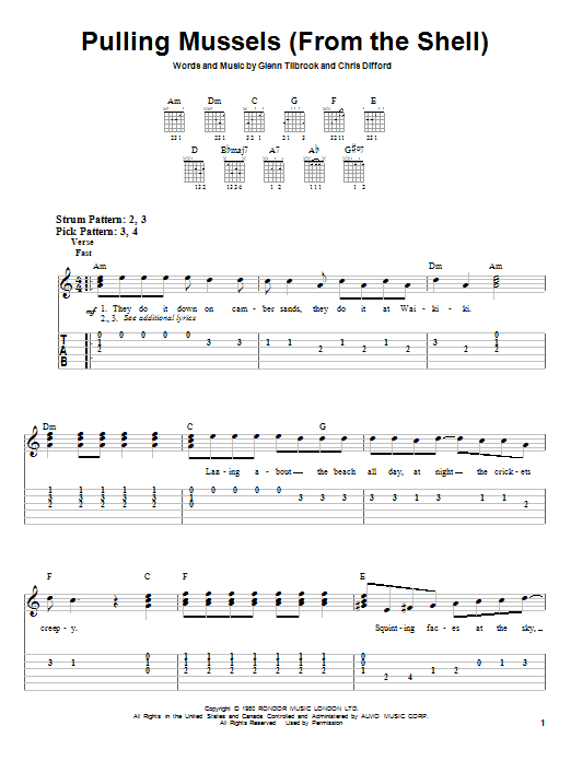Tablature guitare Pulling Mussels (From The Shell) de Glenn Tilbrook - Tablature guitare facile