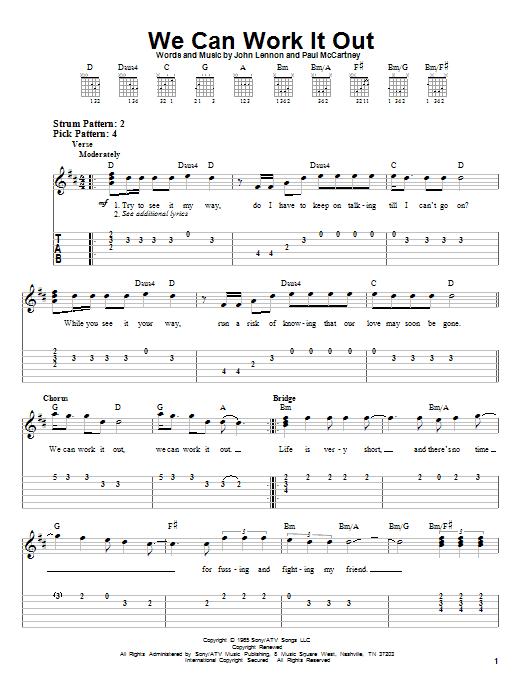 Tablature guitare We Can Work It Out de The Beatles - Tablature guitare facile