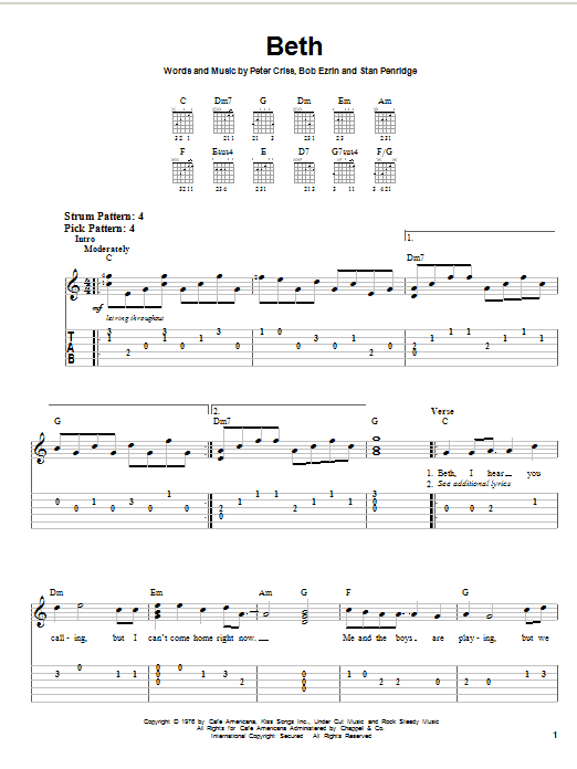 Tablature guitare Beth de KISS - Tablature guitare facile