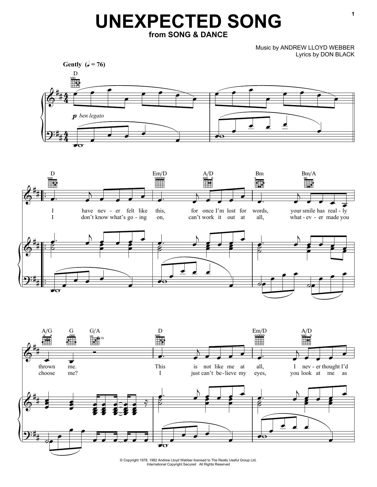 Partition piano Unexpected Song (from Song And Dance) de Andrew Lloyd Webber - Piano Voix Guitare (Mélodie Main Droite)
