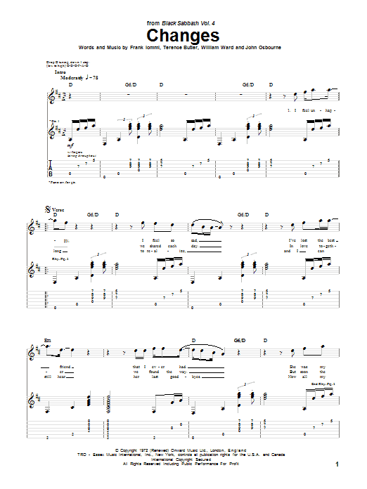 Tablature guitare Changes de Black Sabbath - Tablature Guitare