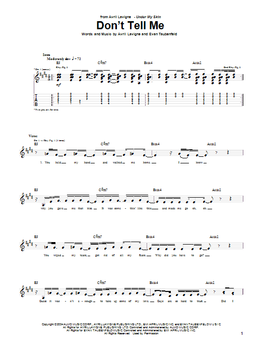 Tablature guitare Don't Tell Me de Avril Lavigne - Tablature Guitare