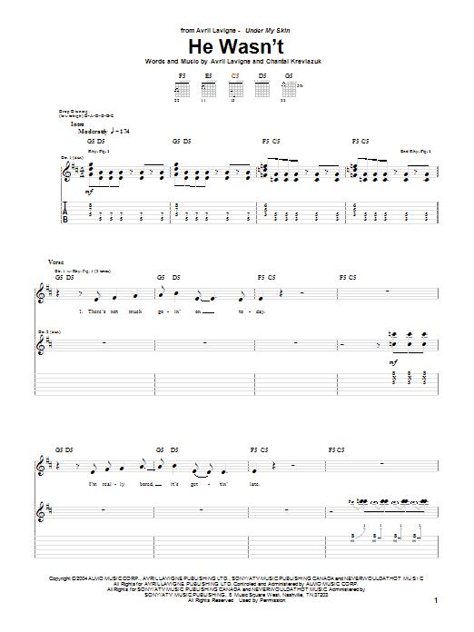 Tablature guitare He Wasn't de Avril Lavigne - Tablature Guitare