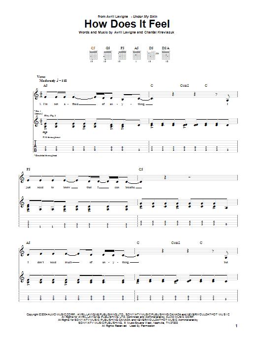 Tablature guitare How Does It Feel de Avril Lavigne - Tablature Guitare