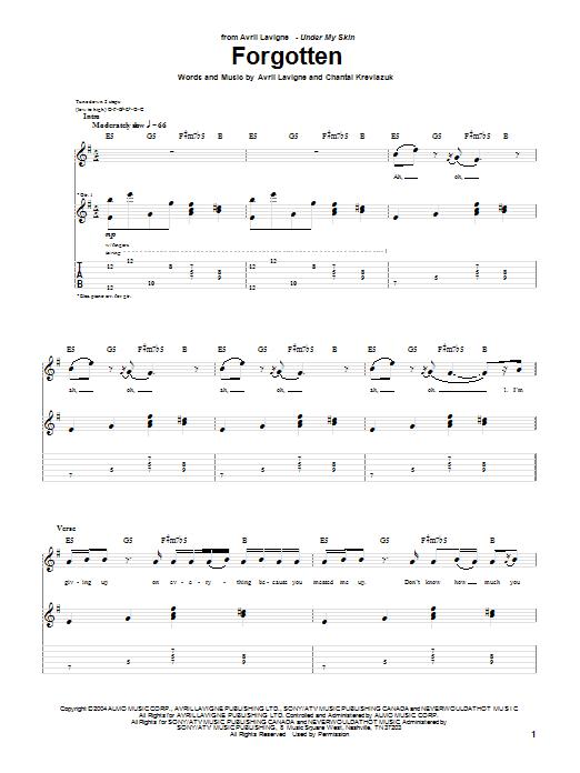 Tablature guitare Forgotten de Avril Lavigne - Tablature Guitare