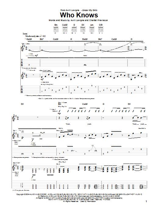 Tablature guitare Who Knows de Avril Lavigne - Tablature Guitare