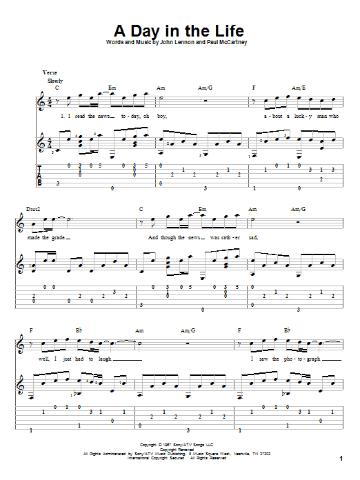 Tablature guitare A Day In The Life de The Beatles - Tablature Guitare
