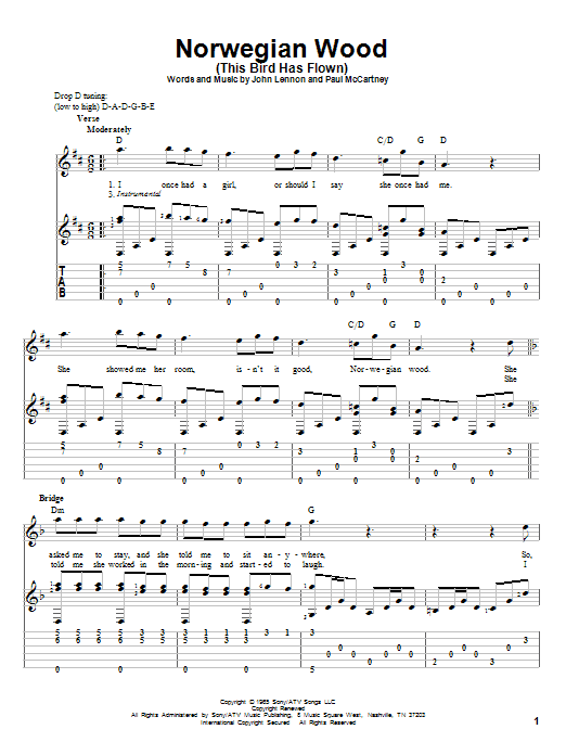 Norwegian Wood (This Bird Has Flown) by The Beatles - Solo Guitar - Guitar Instructor