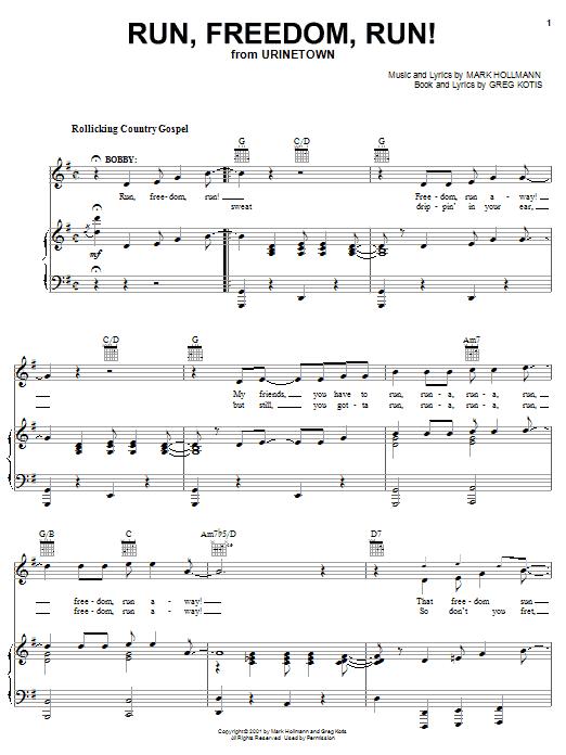 Run, Freedom, Run! sheet music for voice, piano or guitar by Mark Hollmann