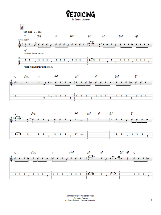 Tablature guitare Rejoicing de Pat Metheny - Tablature Guitare