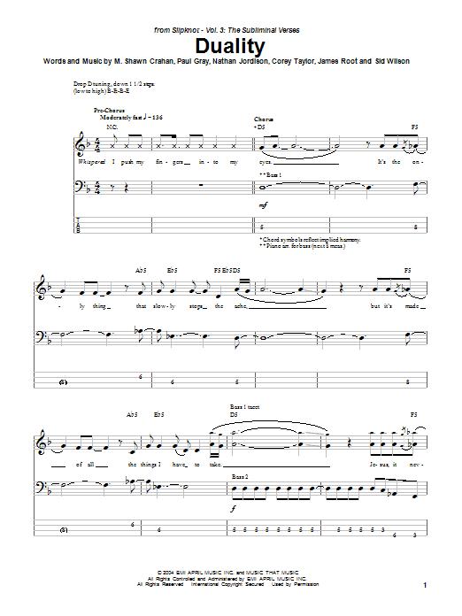 Duality sheet music for bass (tablature) (bass guitar) by Sid Wilson