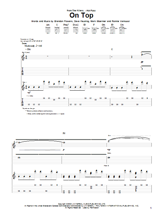 Tablature guitare On Top de The Killers - Tablature Guitare