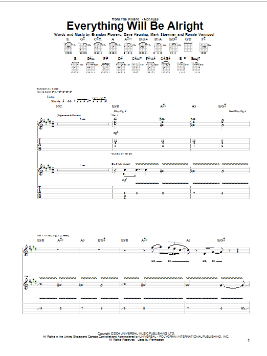 Tablature guitare Everything Will Be Alright de The Killers - Tablature Guitare