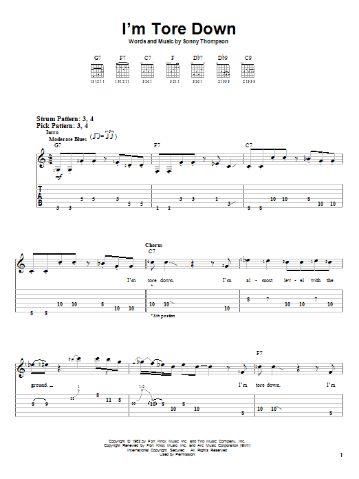 Tablature guitare I'm Tore Down de Eric Clapton - Tablature guitare facile