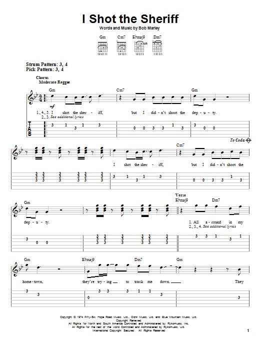 Tablature guitare I Shot The Sheriff de Eric Clapton - Tablature guitare facile